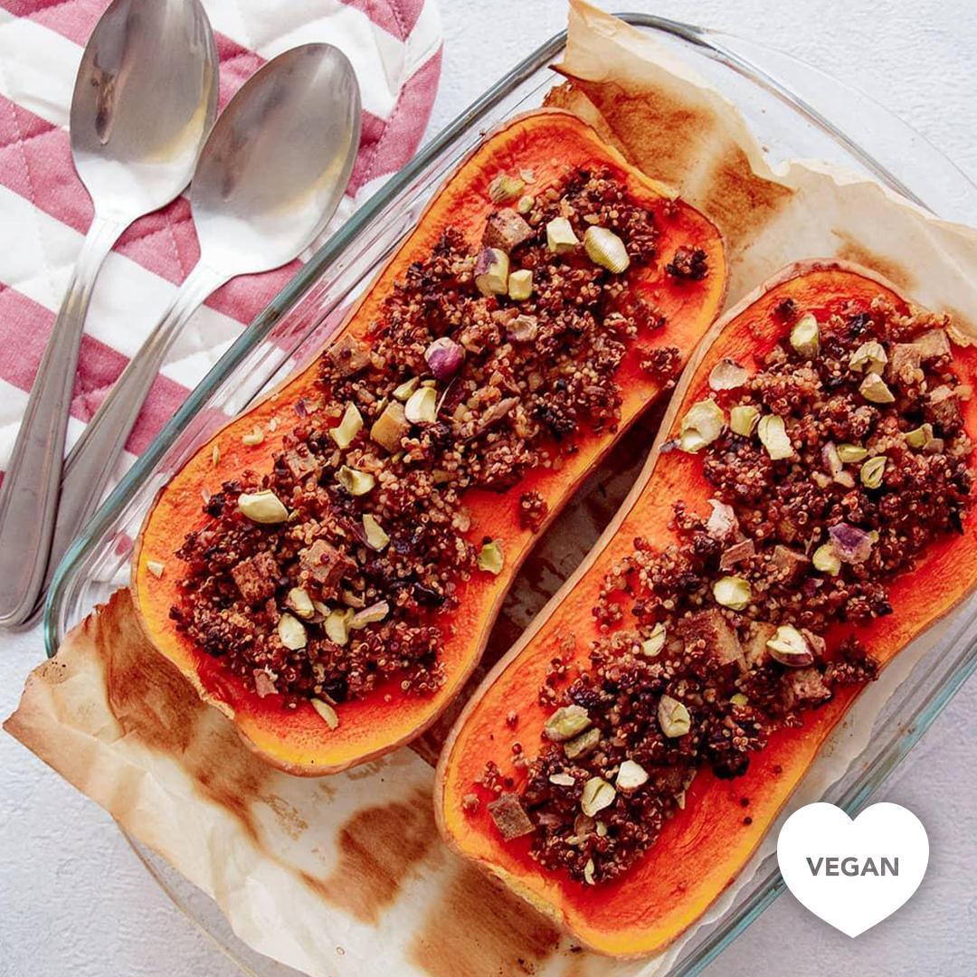 Courge butternut farcie aux poireaux et au quinoa boulghour